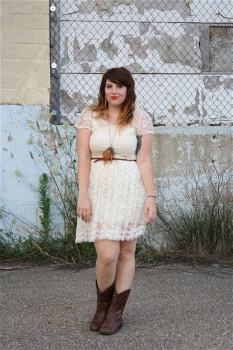 Dark Brown Cowboy Boots, White Lace Dresses, Brown Braided