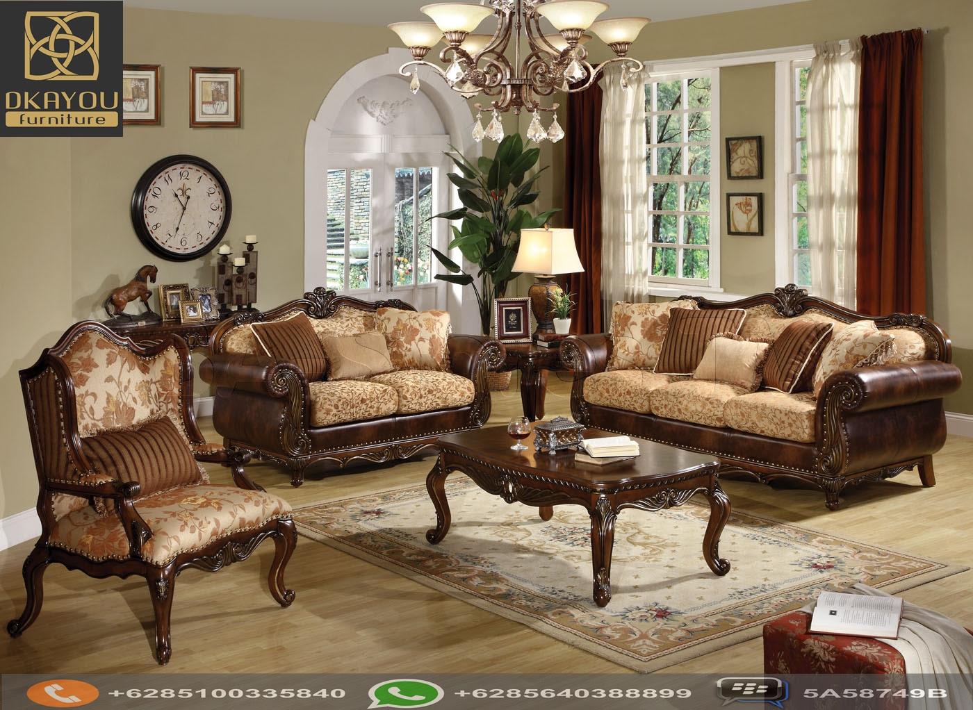 Set Sofa Ruang Tamu Jati Klasik Brown Dkayou Furniture Indonesia