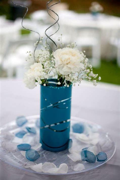 Ivory, Gray, teal wedding. Simple centerpiece DIY. Teal