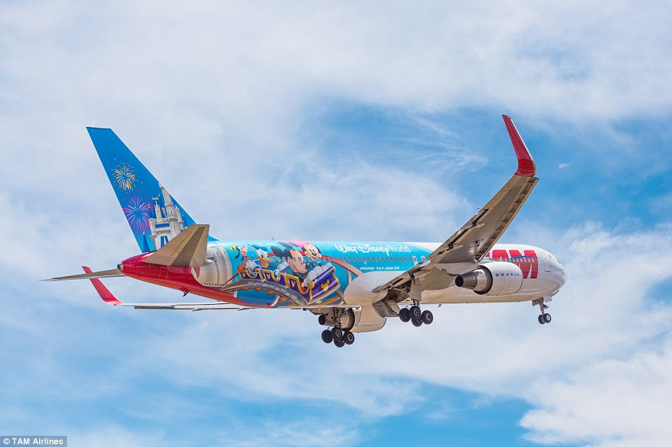 Walt Disney World, in collaboration with Brazilian airline TAM, has unveiled a colourful character-themed plane that took 10 eight-hour days to create