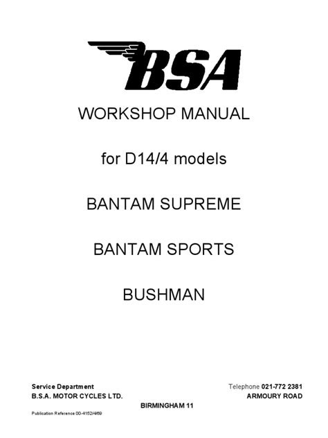BSA Bantam D14-4 Workshop Manual | Internal Combustion