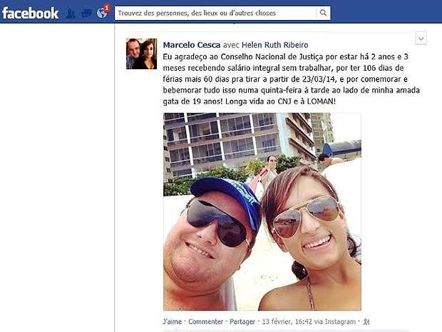 Post do juiz federal Marcelo Antônio Cesca em rede social em que 'protesta' contra demora do CNJ em aprovar retorno dele ao trabalho (Foto: Reprodução)