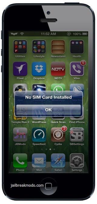 iphone 5 nenhum cartão SIM instalado