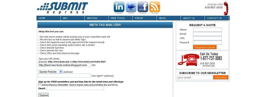 Meta Tag Analyzer : Seo tool submit express meta tag analyzer best online