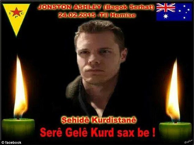 It is understood that Johnston is the first foreign casualty from the Kurdish People's Protection Unit. This image was posted with the images of the massacre in Syria