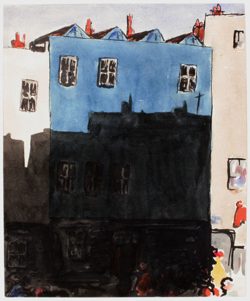 poboh:  The Blue House: Sunlight and Shade, Claud Lovat Fraser. English Artist, Designer and Author (1890 - 1921) - Ink and watercolour -
