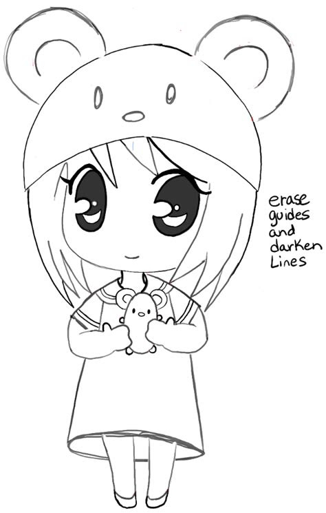 draw  chibi girl  cute mouse hat easy step