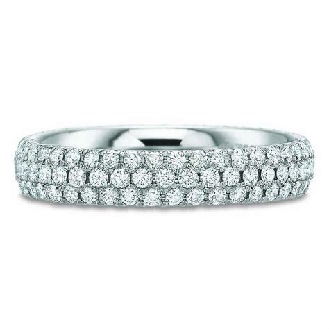 18K White Gold 3 Row Half Diamond Eternity Band   Long's