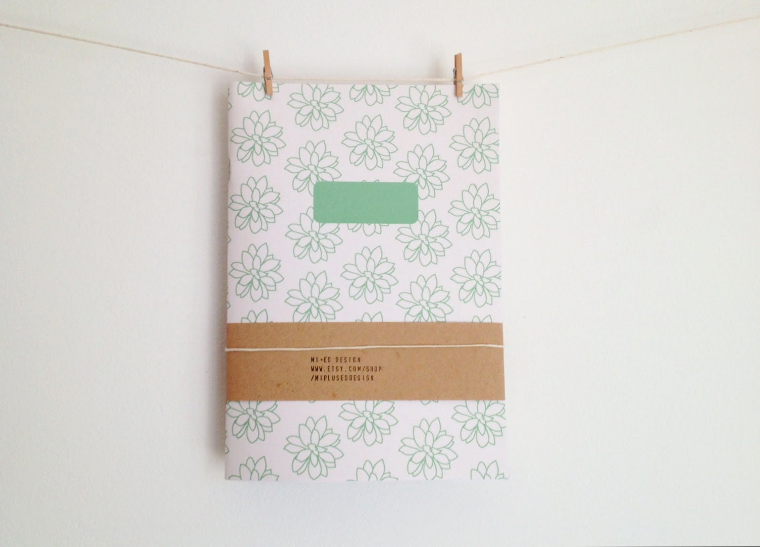 Notebook Journal with Succulent Pattern in Green, Gardening Journal, School Notebook