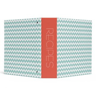 Blue & Orange Chevron Design Recipe Binder