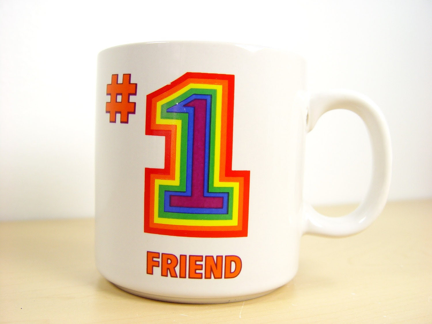 Vintage Number 1 Friend Rainbow Mug - 10 oz (.30 L) - Truth Bomb - SmugMugs