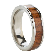 6mm Natural Hawaiian Koa Wood Inlaid Titanium Flat Wedding