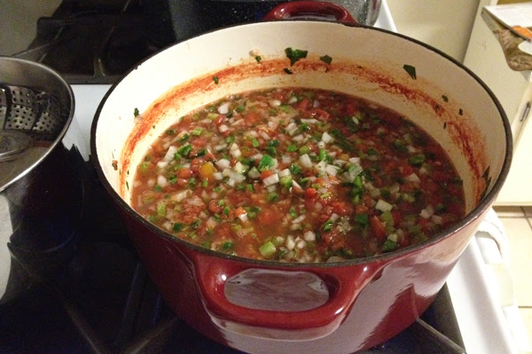 making garden fresh salsa for canning