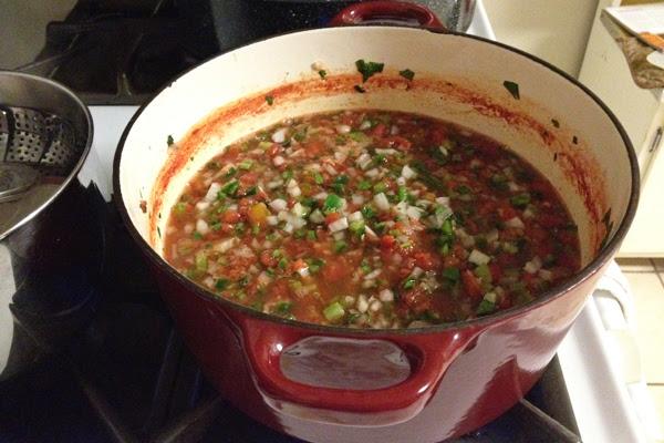making garden fresh salsa for canning