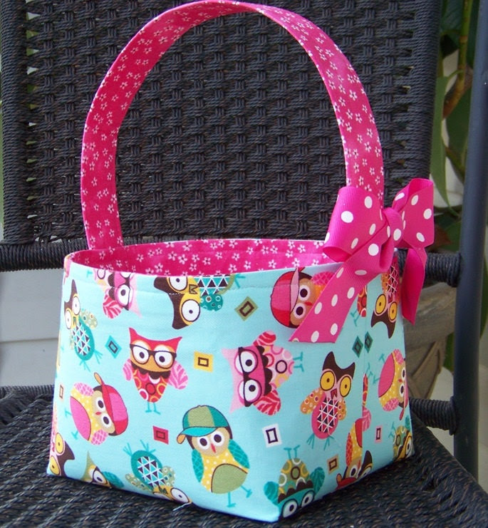 Cute and Hip Owls on Aqua and Hot Pink Fabric Easter Basket - Made to Order - Personalization Included