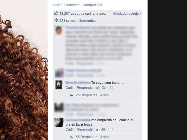 Comentários contra Taís Araújo começaram no sábado (31) (Foto: Reprodução/Facebook)