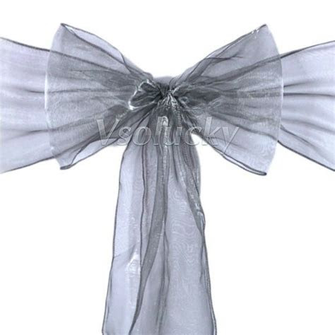 pcs gray organza chair sashes bow wedding party cover