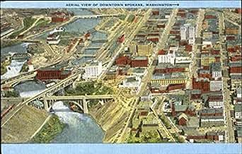 Aerial View Of Downtown Spokane, Washington Original ...