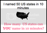 How many US states can you name in 10 minutes?