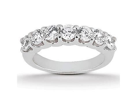 Diamond Shared U Prong Setting Wedding Ring Band 14k White