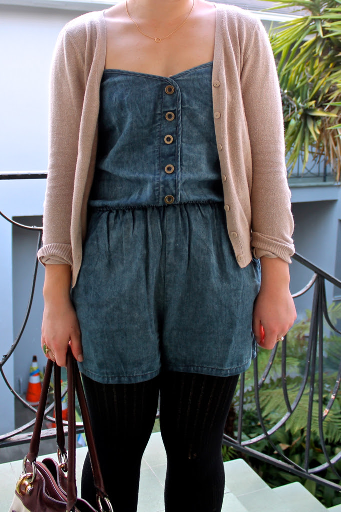 ruche-chambray-romper-and-neutral-cardigan