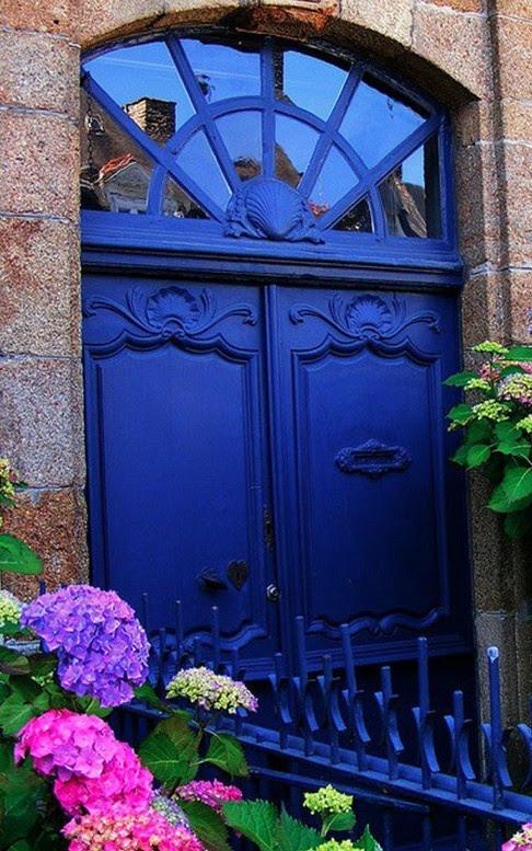 Beautiful indigo blue door and transom window in ~ Paris, France