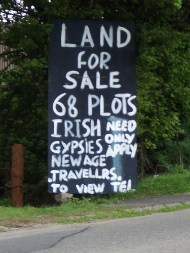 Sign outside illegal traveller encampment at Gotherington, Glos