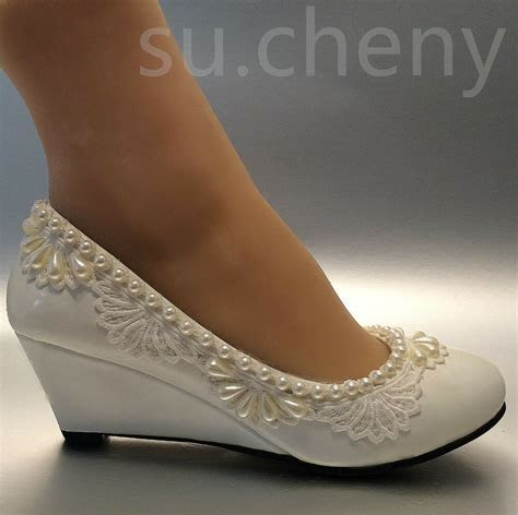 2? heel wedges lace white light ivory pearl Wedding shoes