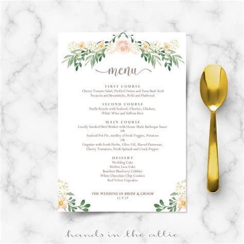 Wedding Dinner Menu   Printable Templates   Hands in the Attic