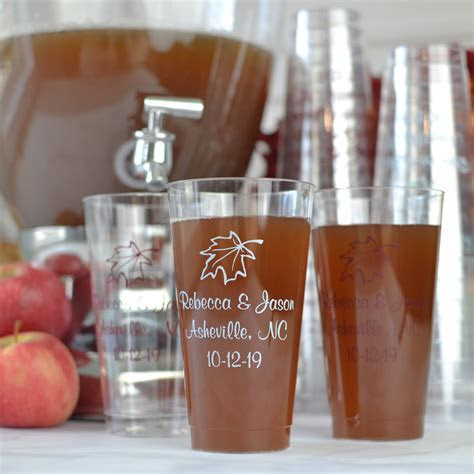 Clear Plastic Disposable Fall Design Cups   16 Oz