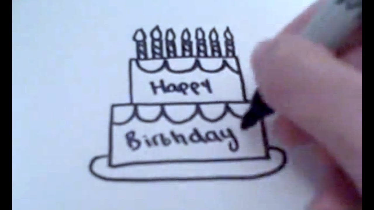 Happy Birthday Cake Easy Drawing
