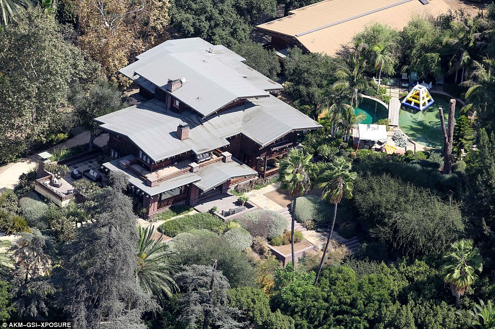 Far away: Brad has been left at their Los Feliz home (pictured), which is close to an hour away from the Malibu pad