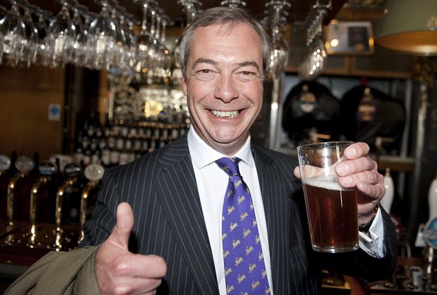 Cheery: Mr Farage has a reputation as a likeable figure but is now trying to professionalise the party