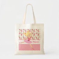 Whimsical Girly Floral Pink Ballerina Personalized Tote Bags