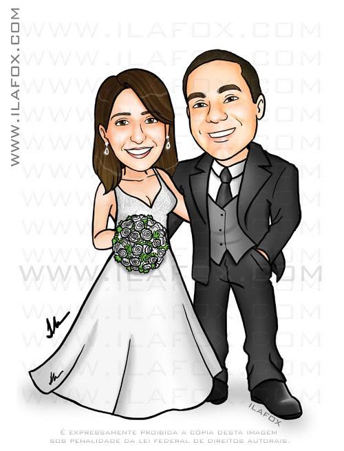 caricatura colorida, noivinhos, corpo inteiro, caricatura para casamento by ila fox