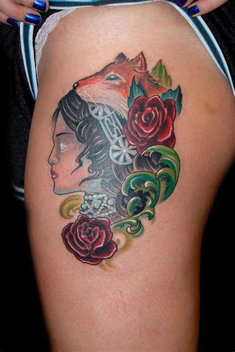 blind girl fox eyes tattoo marvin silva tattoos