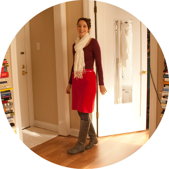 red red red, dash dot dotty, ootd, outft blog, red with maroon, burgundy, red wool pencil skirt