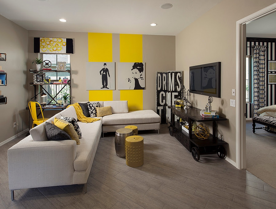 Bold and innovative use of stripes in the living room