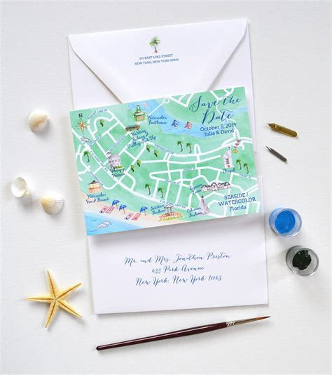 Save The Date Maps & Custom Wedding Maps Watercolor Florida
