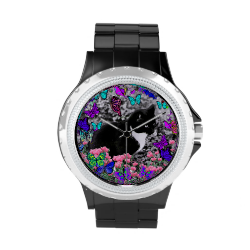 Freckles in Butterflies II - Tuxedo Cat Wristwatch