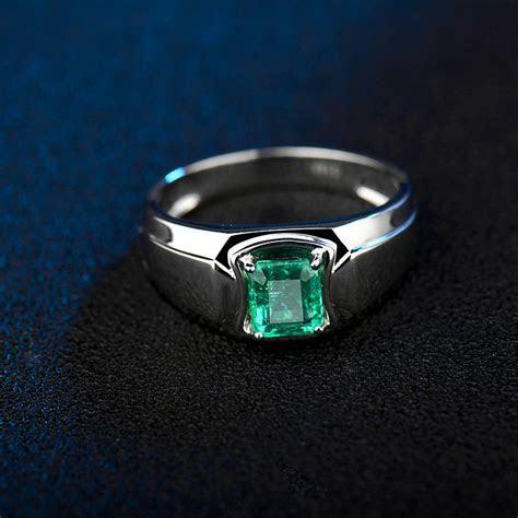 gemstone men ring   white goldnatural emerald ring