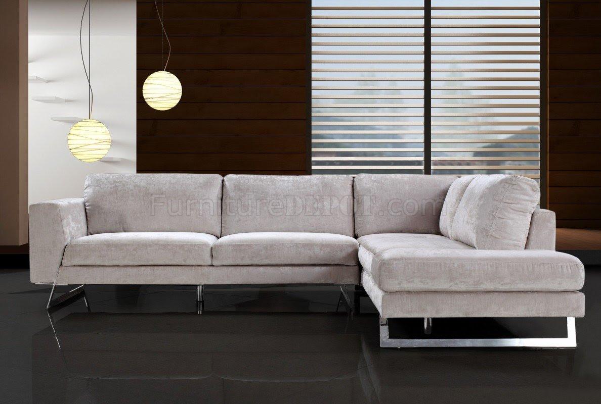 Beige Microfiber Modern Sectional Sofa w/Chrome Metal Legs