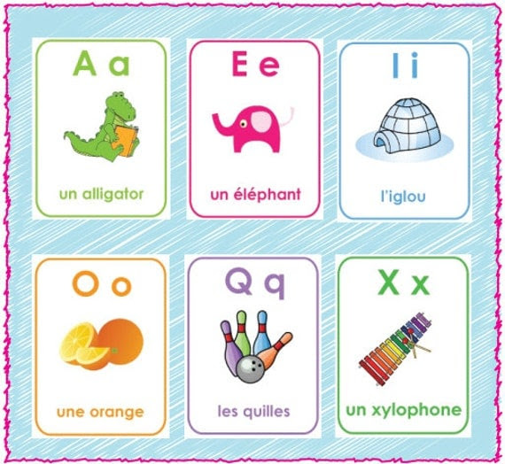 Printable French Alphabet Flash Cards A-Z by Serendipitydw