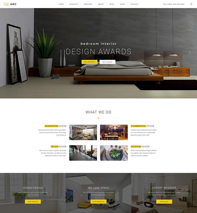 ARC - Diseño de interiores, Decoración, Arquitectura plantilla de PSD