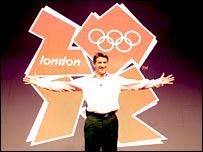 Lord Coe at the launch of the new London 2012 logo