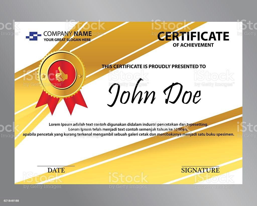 Editable Gold Ribbon Certificate stock vector art 621846188   iStock