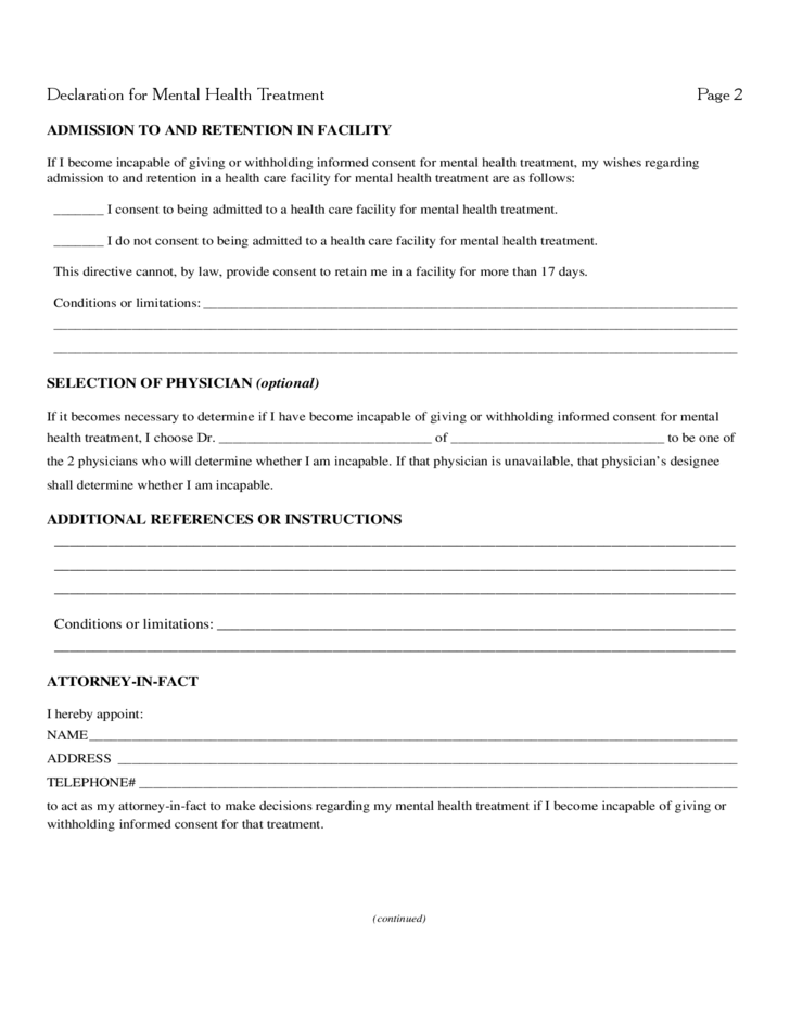 Declaration for Mental Health Treatment Free Download