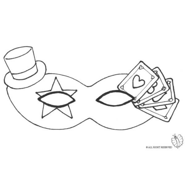 Disegno Di Maschera Carnevale Con Cappellino Da Colorare Per Bambini