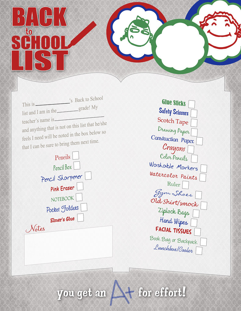 Back to School List CURRENT