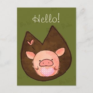 Pinky the Miniature Pig Postcard zazzle_postcard